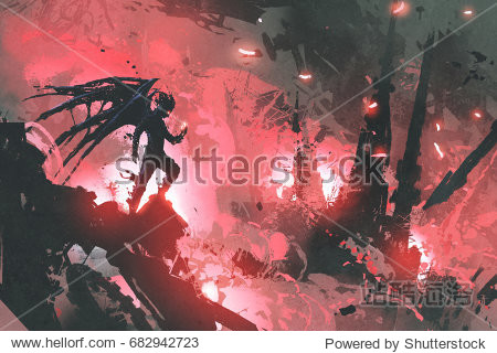 black devil standing on ruins of building against burning city  digital art style  illustration painting