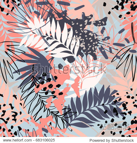 Abstract exotic leaves seamless pattern. Hand drawn tropical summer background: leaf contours  silhouette  splash  splatters  dots. Vector art illustration in vivid colors