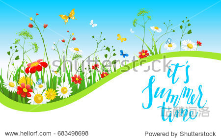 Summer or spring template for design banner  ticket  leaflet  card  poster and so on. Green grass and flowers scenery.