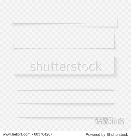 Transparent realistic paper shadow effect set. Web banner. Shade for advertising and promotional message isolated on transparent background. Abstract vector illustration