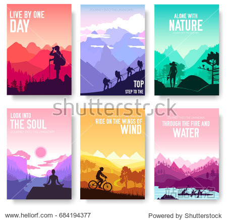 Sport rest day vector brochure cards set.  Tourism on nature template of flyear  magazines  poster  book cover  banners. Active lifestyle invitation concept background. Layout illustration modern page