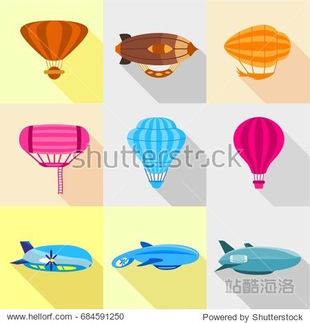 Different airships icons set  flat style