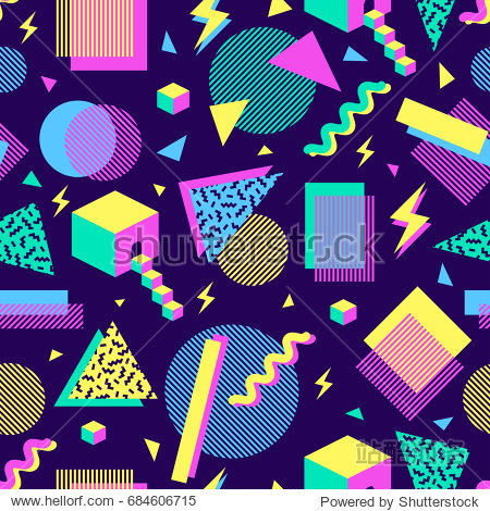 vector seamless pattern with multicolor geometric shapes on dark background. retro vintage abstract art print. fashion 80s-90s. memphis style design.  Wallpaper  cloth design  fabric  paper  textile.