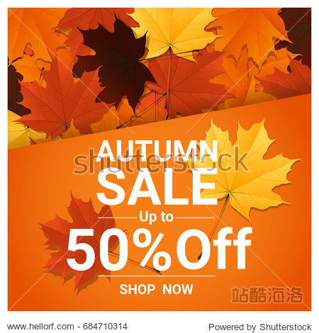 Autumn sale banner with colorful leaves   vector   illustration