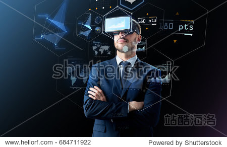 business  people and future technology concept - businessman in headset over black background with virtual screens