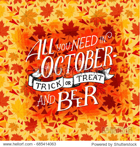 Lettering quote about october. Lettering composition