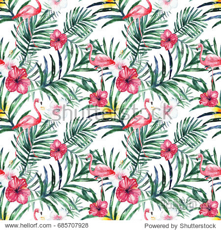 Watercolor tropical seamless pattern with flowers  leaves and flamingo