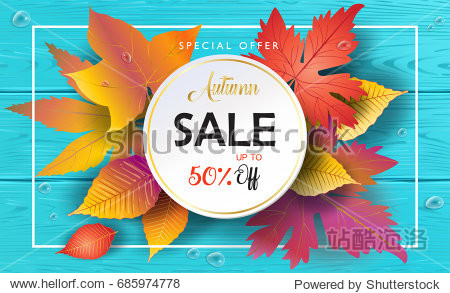 Hello Autumn Sales vector Fall leaves season sale banner. Sale Thanksgiving Holiday decoration. Maple tree leaves  lettering Blue Wood texture. Autumn Sale Orange leaf. Autumn leaf on wooden landscape