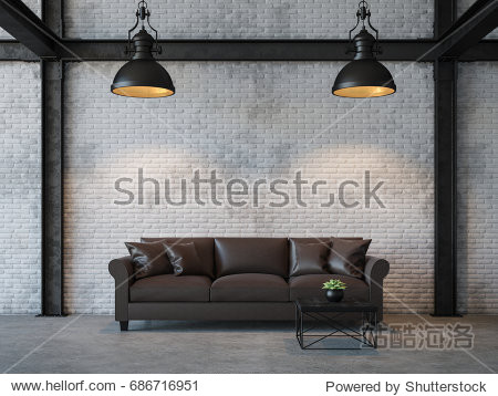 Loft style living room 3d rendering image.There are white brick wall polished concrete floor and black steel structure.Furnished with dark brown leather sofa