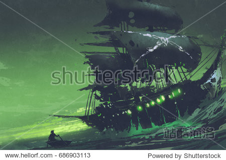night scene of ghost pirate ship in the sea with mysterious green light  Flying Dutchman  digital art style  illustration painting