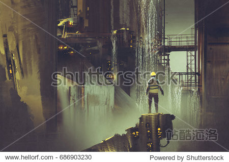 scene of the engineer standing on a platform looking at futuristic dam  digital art style  illustration painting
