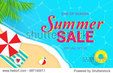 Summer sale banner vector illustration  Top view of summer beach.