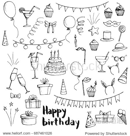 birthday party doodle set  vector isolated hand drawn elements