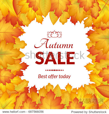 illustration. The design of the poster autumn sales. Yellow  orange leaves on a white background  frame for text.
