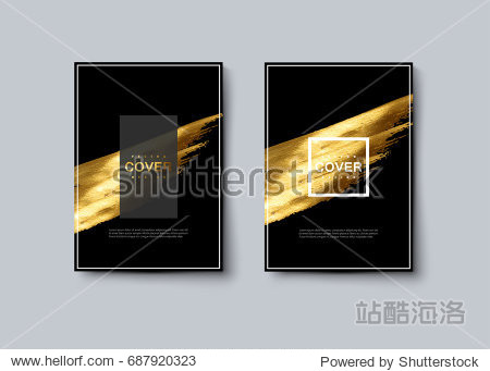 Black and golden luxury cover design. Vector artistic illustration. Brochure, flyer, banner and booklet mockup. Abstract vintage background with golden paint stain