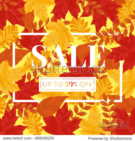 Autumn Vector Sale Square Banner - Leaves