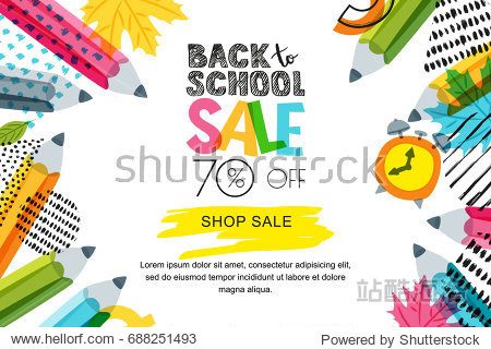 Vector horizontal back to school sale banner  poster background. Hand drawn sketch letters and doodle multicolor pencils on textured background. Layout for discount labels  flyers and shopping.