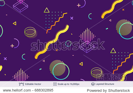 Vector multicolored geometric shapes. Simple dark backdrop.