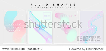 Pastel Covers Set with Abstract Fluid Waves. Modern Minimalistic Vector Illustration for Placard  Flyer  Banner  Report Presentation. Abstract Futuristic Design with Holographic Colors and Copy Space.