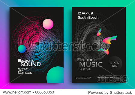 Electronic music festival poster with abstract gradient lines. Vector template design for flyer  presentation  brochure.