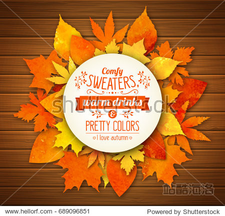 Autumn season banner. Greeting card with text and hand drawn watercolor fall leaves. Modern lettering and watercolor colorful foliage of yellow  orange and red color on wooden background