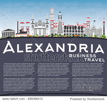 Alexandria Skyline with Gray Buildings  Blue Sky and Copy Space. Vector Illustration. Business Travel and Tourism Concept with Historic Architecture. Image for Presentation Banner Placard and Web Site