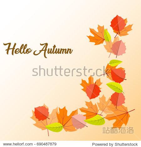 Hello autumn. Autumn leaves on an orange background. Vector illustration.