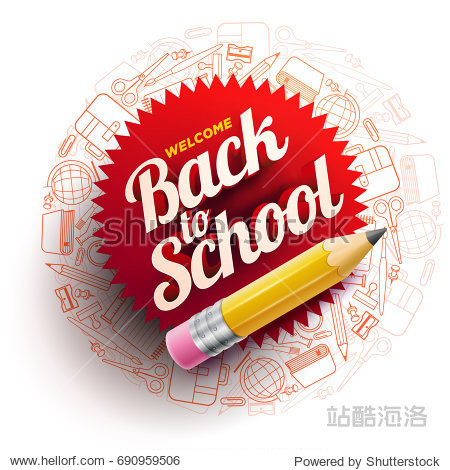 Vector design template for Back to school. school supplies icons  sharp wooden pencil and 3d Welcome Back to School text.