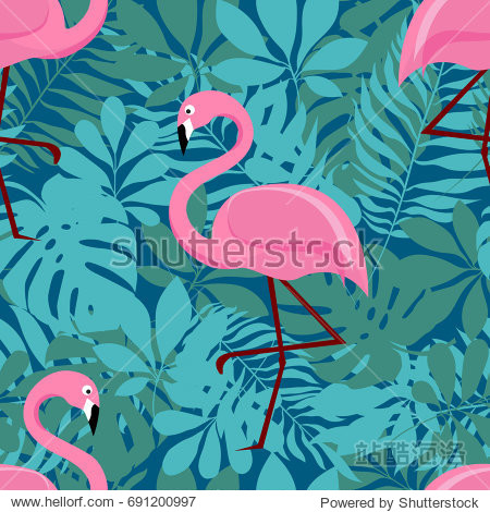 Vector seamless pattern with pink flamingos and green palm leaves. Exotic Hawaii art background is tropical trendy. Design for fabric  textile  wrapping paper and other decoration.