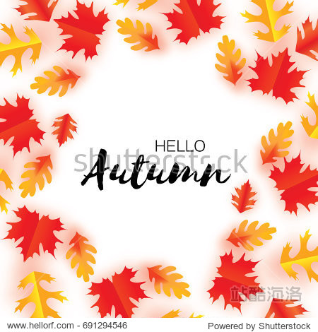 Hello Autumn Paper Cut leaves. September flyer template. Space for text. Origami Foliage. Oak. Circle Fall leaf poster. White background. Vector