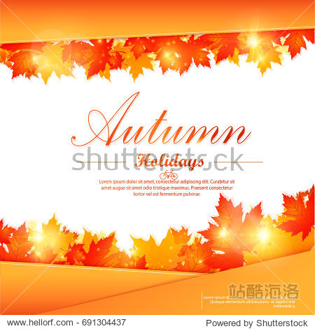 Collection of autumn sale and other typography flyer template with lettering. Bright fall leaves. Poster  card  label  banner design set. Vector