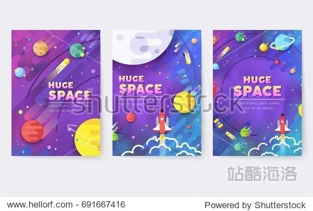 huge universe  vector brochure cards. Outline outer space rocket template of flyear  magazines  posters  book cover  banners. Colorful thin line set.  background. Layout icons stars in galaxy page.