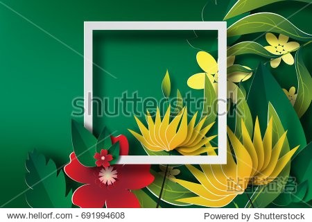 Paper art of  Frame with green leaf and flower  banners white vector
