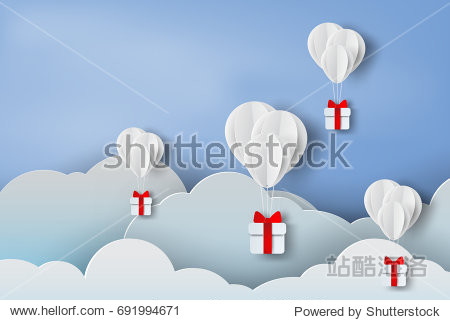 paper art of balloon white  floating and Gift Box on in the air blue sky background,Christmas,Festival,vector