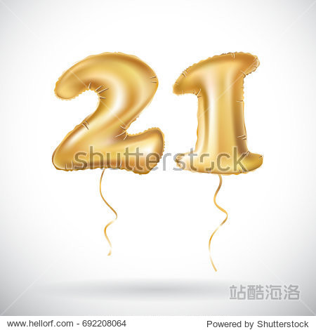Golden number twenty one metallic balloon. Party decoration golden balloons. Anniversary sign for happy holiday  celebration  birthday  carnival  new year. 21 Metallic design balloon. art