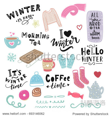 Winter illustration and hand lettering phrase morning tea  hello winter  coffee time  for stickers  print  textile  stationary  t-shirt  bag
