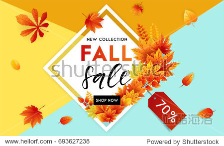Autumn sale flyer template with lettering. Bright fall leaves. Poster  card  label  banner design. Bright geometrical background. Vector illustration EPS10