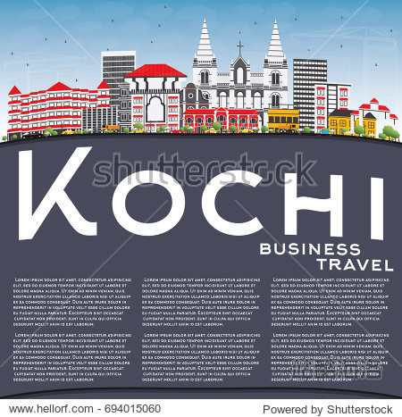 Kochi Skyline with Color Buildings  Blue Sky and Copy Space. Business Travel and Tourism Concept with Historic Architecture. Image for Presentation Banner Placard and Web Site.