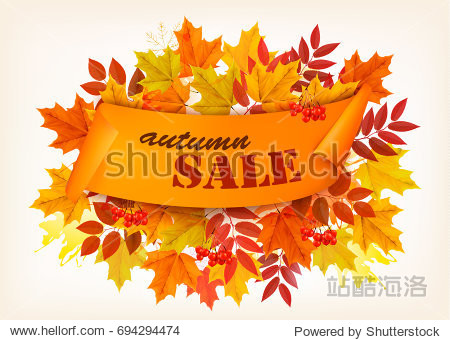 Autumn Sales Card With Colorful Leaves. Vector.