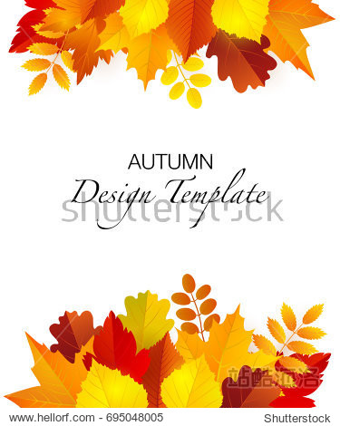 Vector design template with bright autumn foliage.