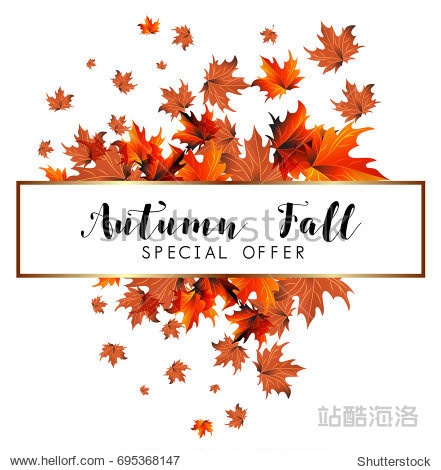 Autumn sale banner with colorful fall leaves.