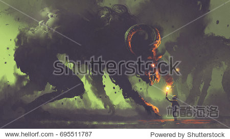 dark fantasy concept showing the boy with a torch facing smoke monsters with demon's horns  digital art style  illustration painting