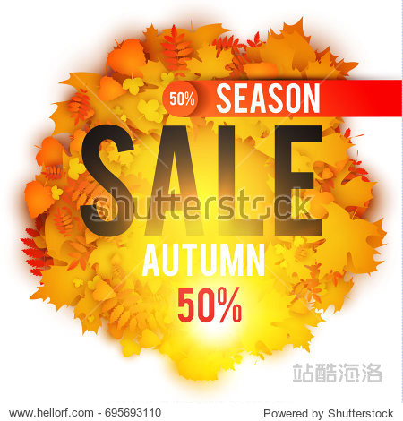 Autumn Sale Banner with Gold Leaves. Season Template. Vector illustration