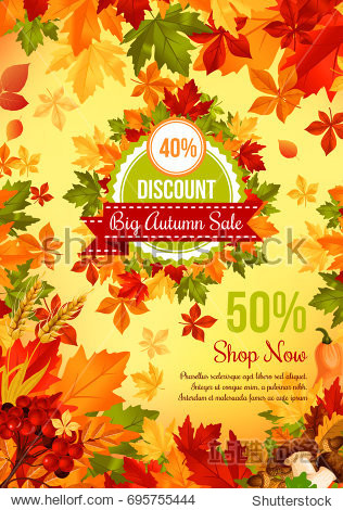 Autumn sale discount offer banner template. Fall leaf  autumn harvest pumpkin vegetable  orange  yellow and green maple foliage retail promotion poster design  decorated with mushroom  acorn and berry