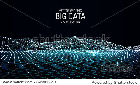 Big Data visualization. Vector abstract 3D network background. Visual data complex. Intelligence artificial. Wireframe landscape background