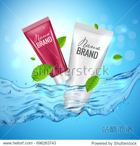 Cosmetics product advertising illustration poster. Vector skincare bottle design with water.