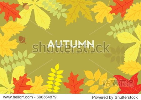 Autumn background. Colorful leafs with sample text. Vector illustration