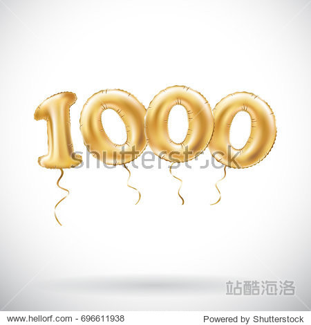 vector Golden number 1000 one thousand metallic balloon. Party decoration golden balloons. Anniversary sign for happy holiday  celebration  birthday  carnival  new year. art