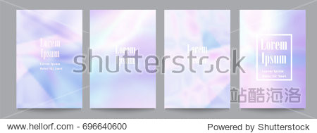Vector set of template with holographic soft pastel backgrounds.Trendy geometric covers design for posters magazines cards covers flyers