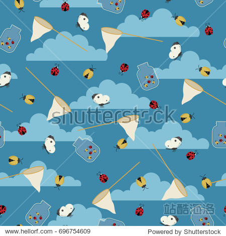Catching beetles/bugs and butterflies. Seamless vector pattern/wallpaper. Fabric design for boys.